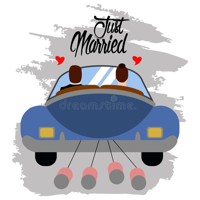 Bride and groom on a car. Just married couple stock illustration