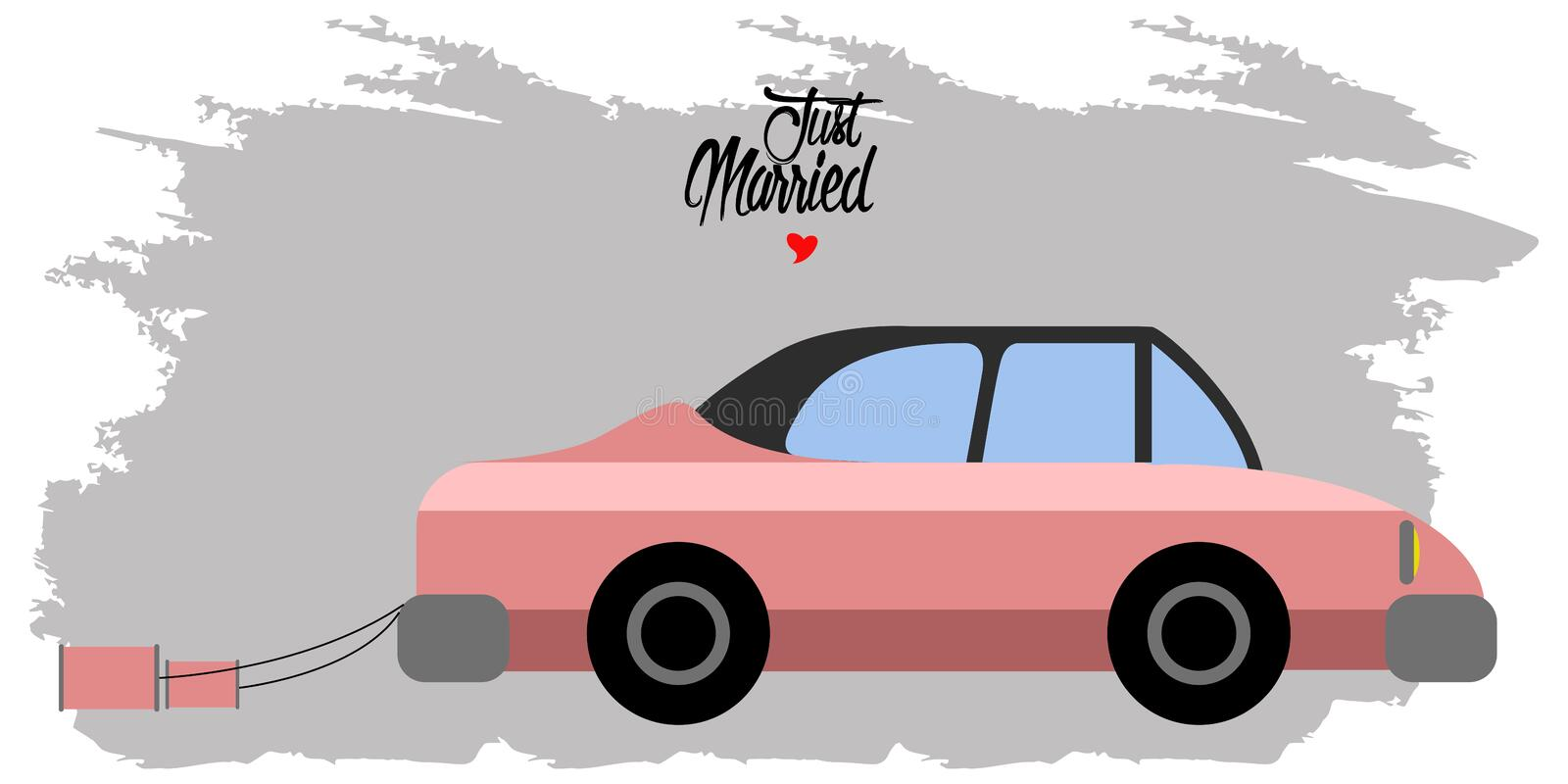 Bride and groom on a car. Just married couple vector illustration