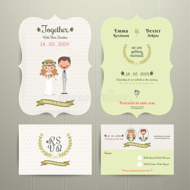 Bride Groom Cartoon Romantic Farm Wedding Invitation Card And – Invitation Card Rsvp