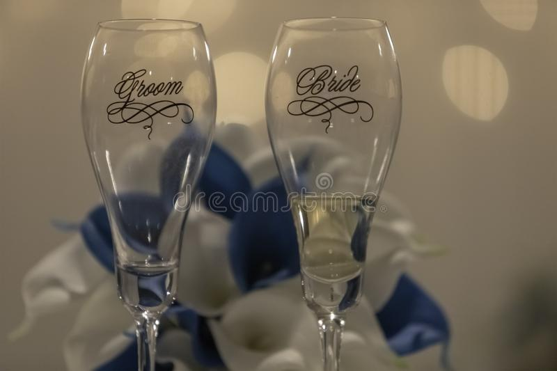 Bride And Groom Champagne Glasses stock photo