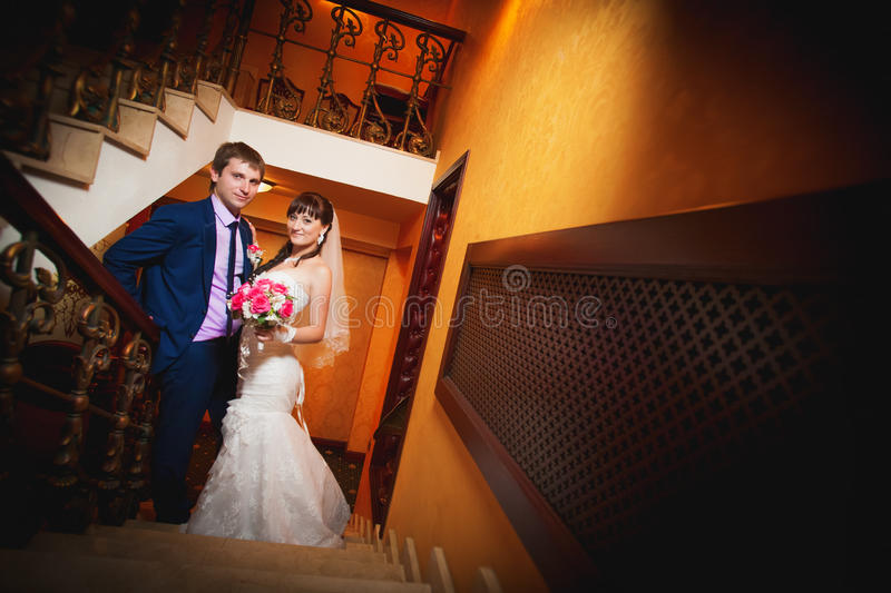 Bride And Groom In The Classic English Interior Royalty Free Stock Image