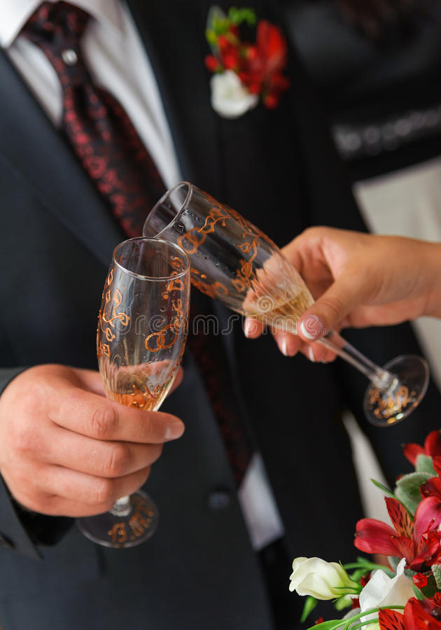 Download Bride And Groom A Clink Glasses. Wedding Couple Stock Photo - Image: 27038860