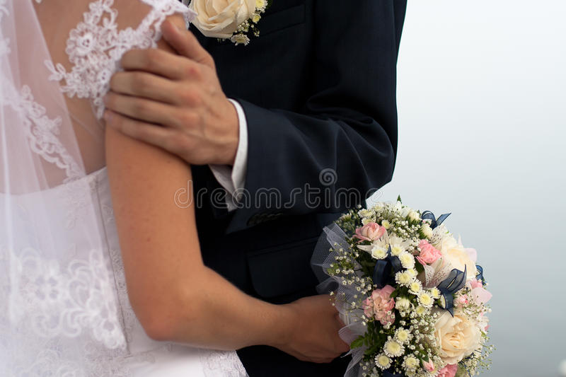 Bride and groom close up stock photos