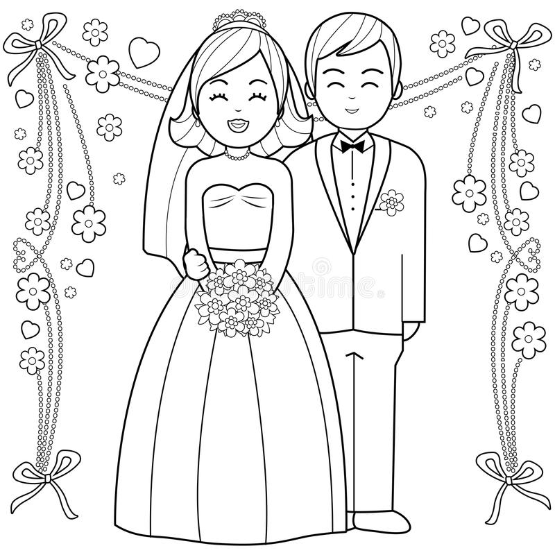Download bride and groom coloring book page stock vector illustration of gown couple