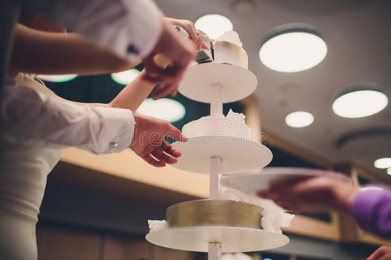 Bride and groom cut rustic wedding cake on wedding banquet with red rose and other flowers. Bride and groom cut rustic wedding cake on wedding banquet with red royalty free stock image