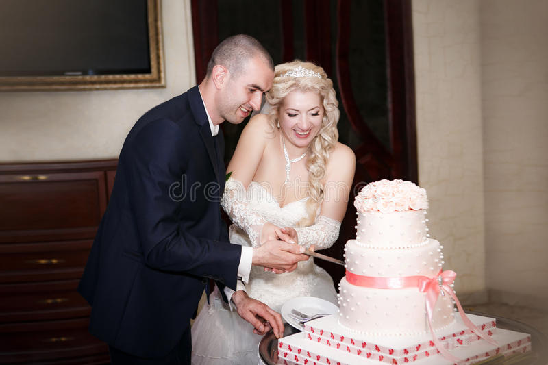 Bride and groom cutting the cake royalty free stock images