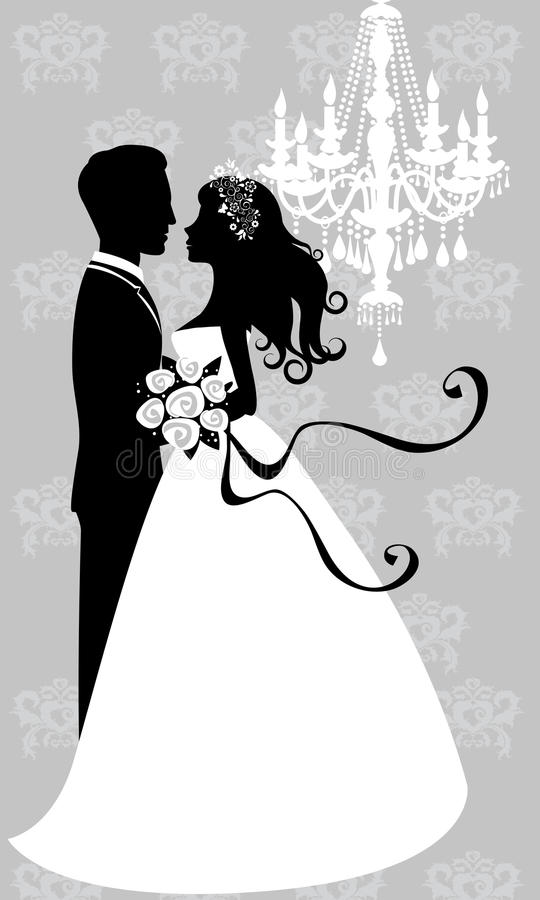 Bride and groom embracing royalty free illustration