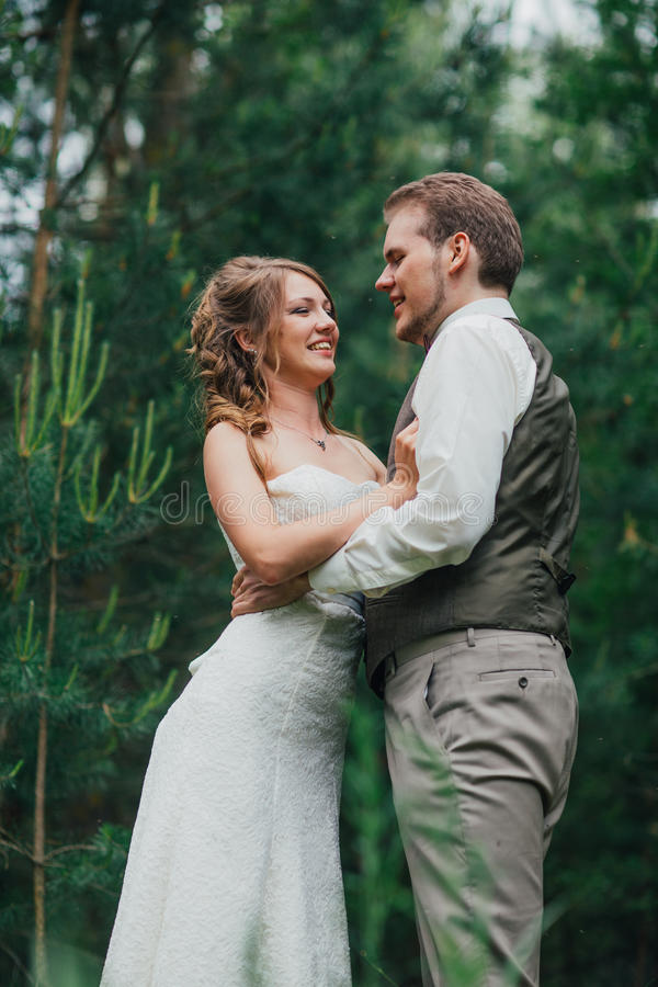 Bride and groom are embracing against the background forest royalty free stock images