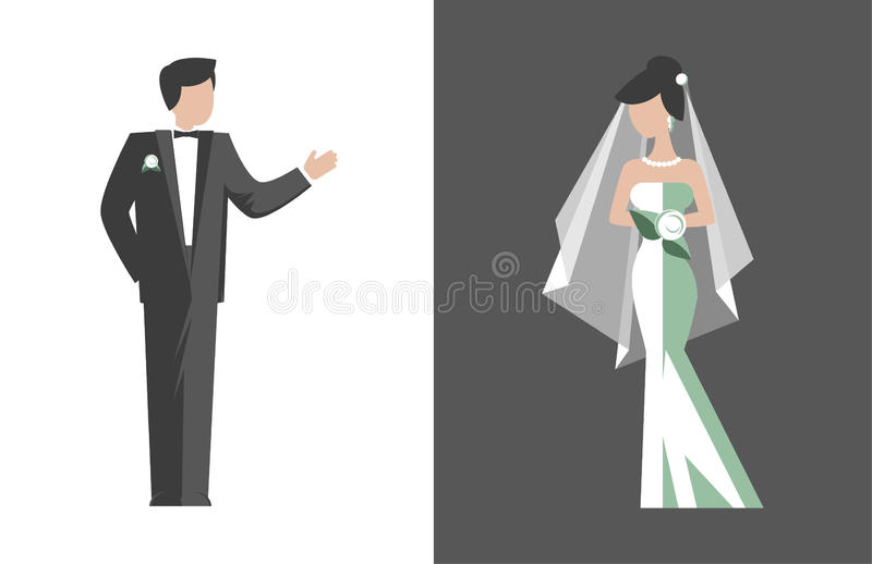 Bride and groom stock illustration