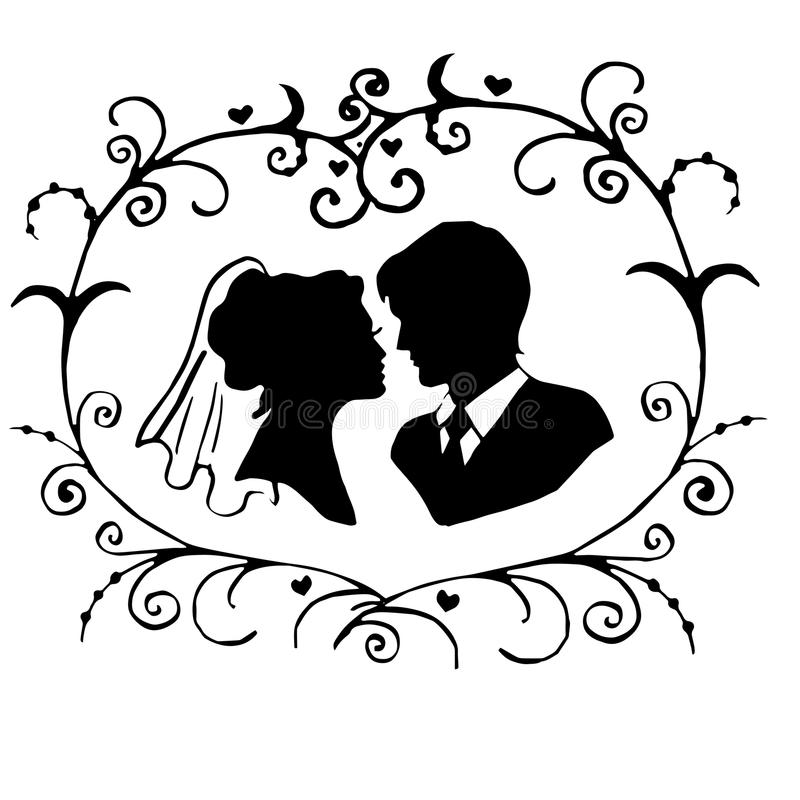 The bride and groom. In floral ornament vector illustration