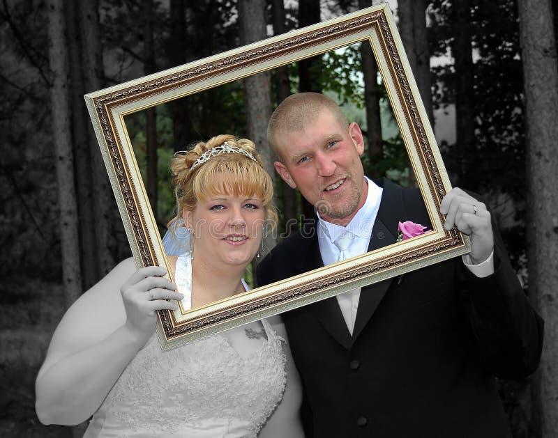 Bride and Groom Formal Portrait in Frame Selective Color