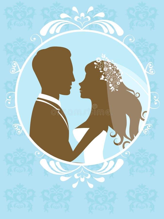 Bride and groom in frame vector illustration
