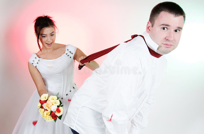 Download Bride And Groom Funny Faces Stock Photo - Image: 7315508