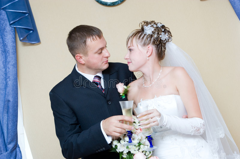 Download Bride And Groom With Glasses Of Champagne Stock Photo - Image: 4455720