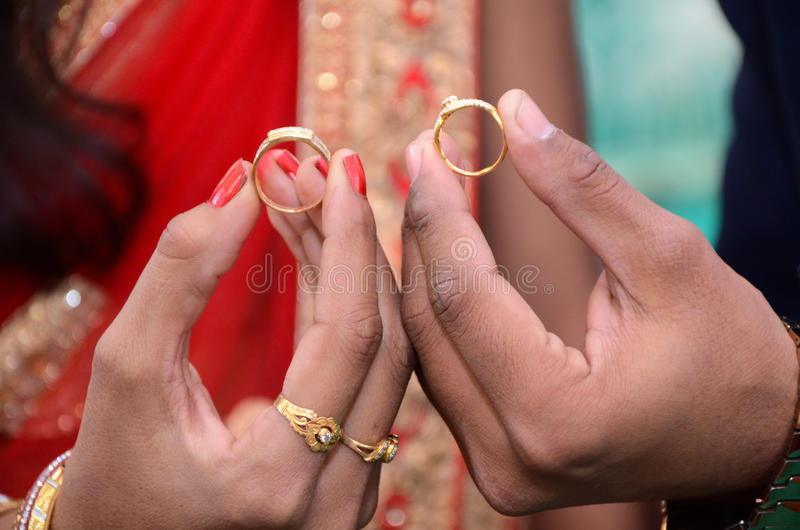 Bride And Groom Hand With Wedding Rings Stock Photo Image of