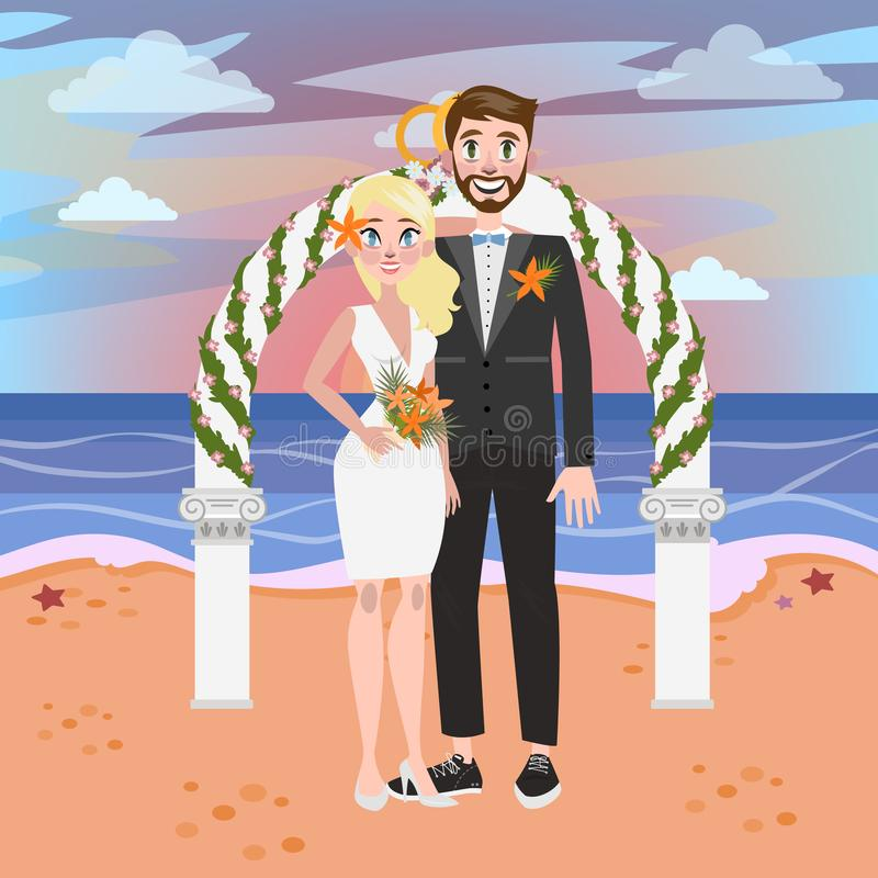 Bride and groom have a wedding on the beach. Bride and groom have a wedding ceremony on the beach. Couple in love standing at the sea or ocean. Romantic vector illustration