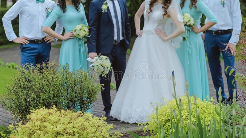 Bride with groom and his friends royalty free stock photo