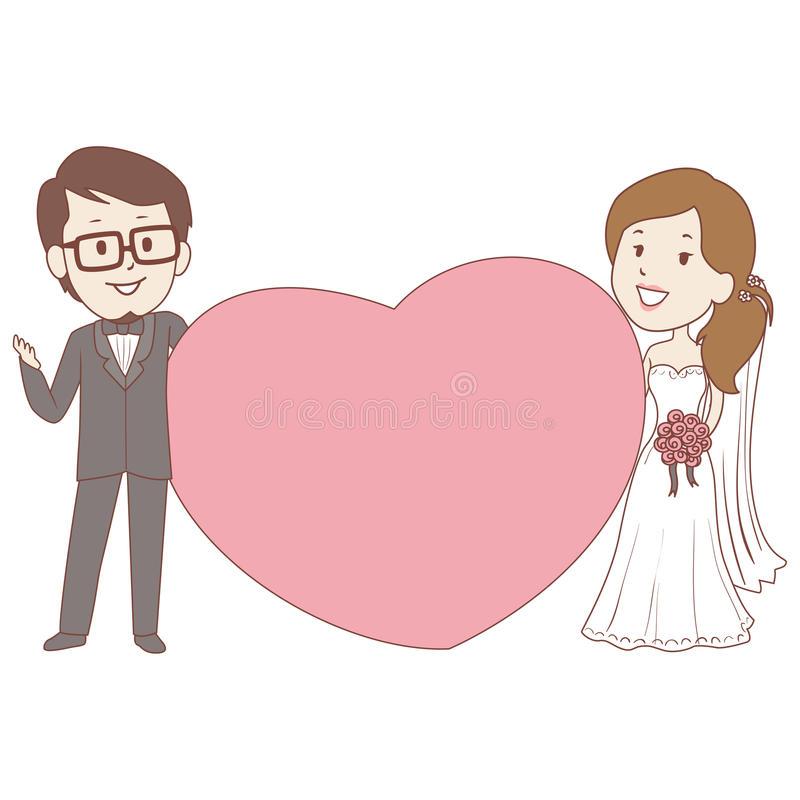 Bride And Groom Holding A Big Heart Frame Stock Vector ...