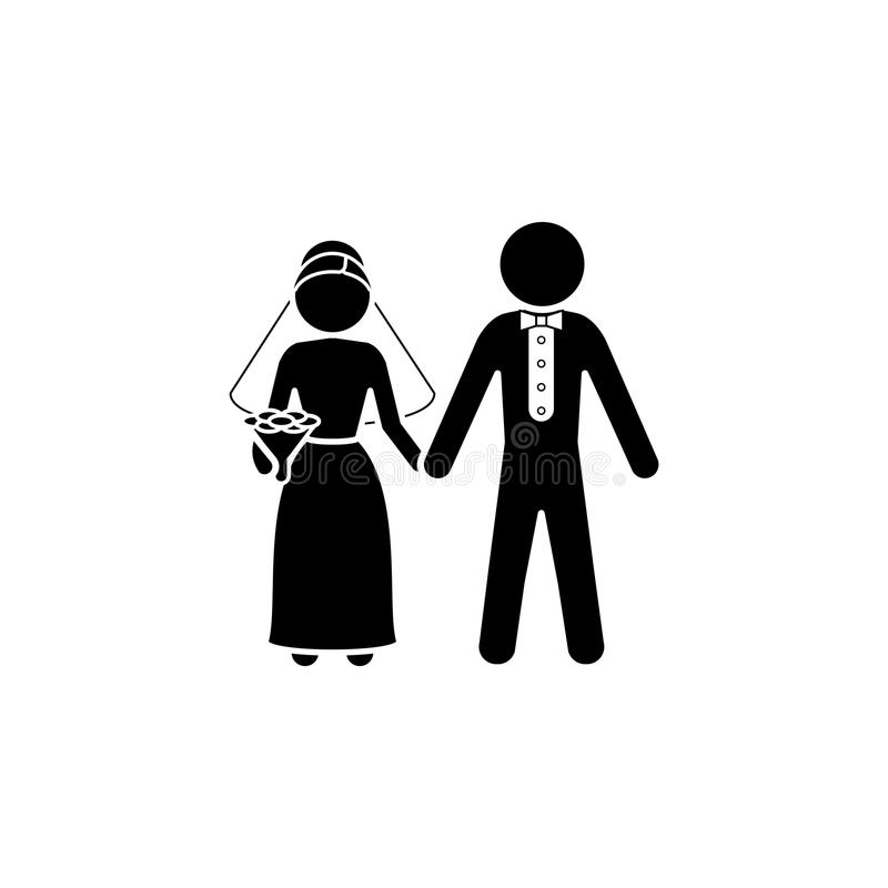 Bride and groom icon. Newlyweds. Icon stock illustration