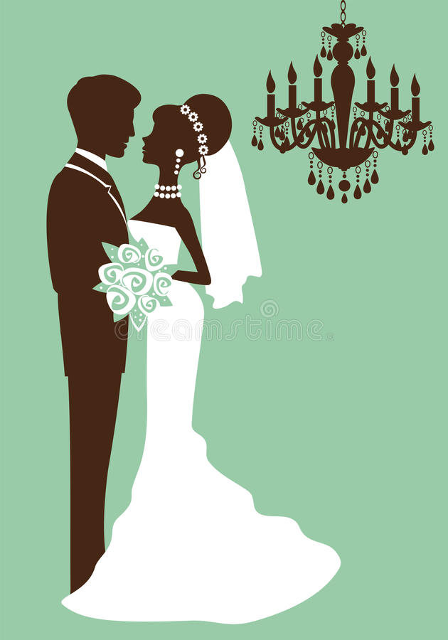 Bride and groom just married vector illustration