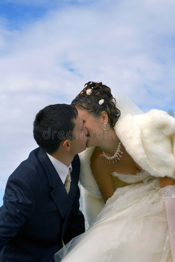 Bride and groom. Kiss royalty free stock images