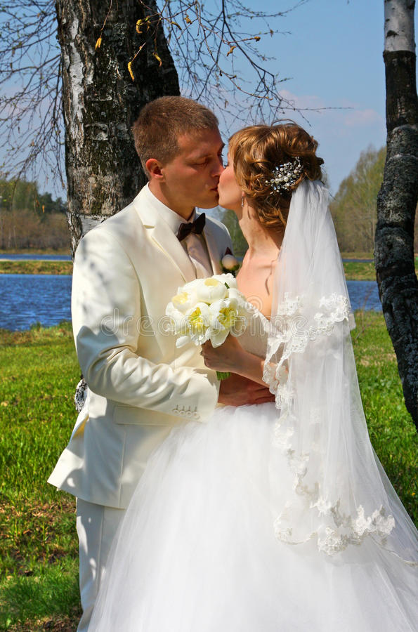 Bride and groom, kiss royalty free stock photos