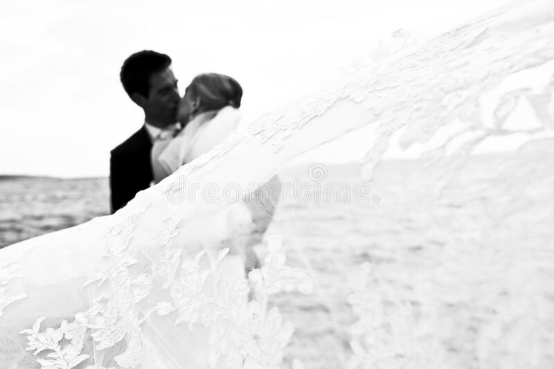 Bride and groom kissing on the sea shore royalty free stock images