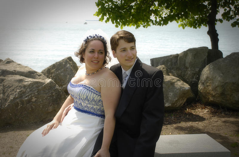 Bride and Groom by lakefront royalty free stock photo