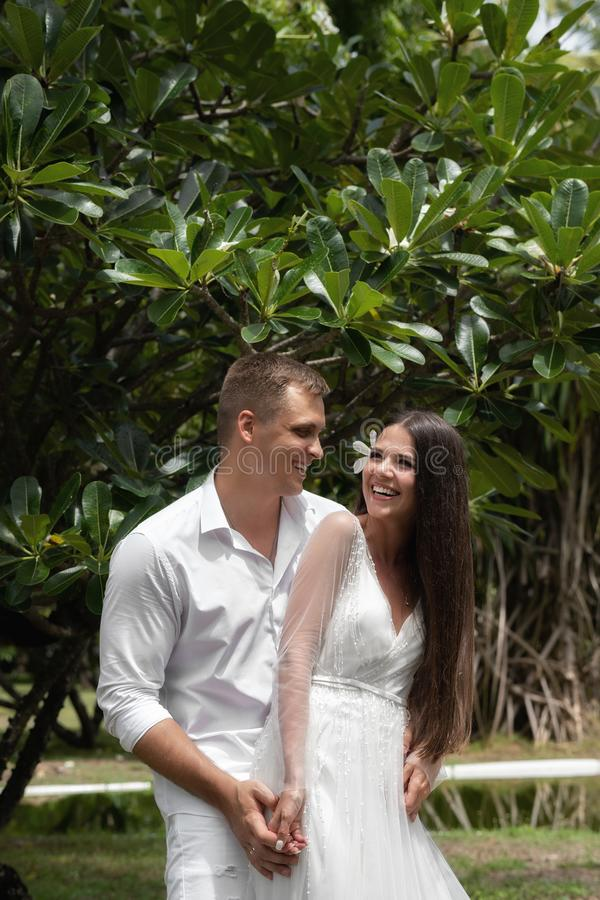 The bride and groom laugh about an exotic flowering tree stock photography
