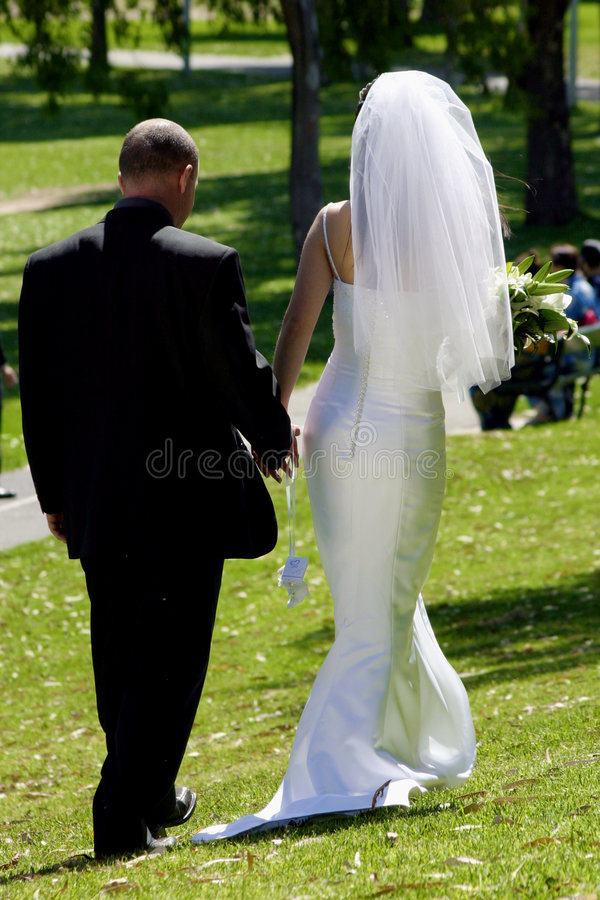 Bride & Groom Leaving. royalty free stock photo