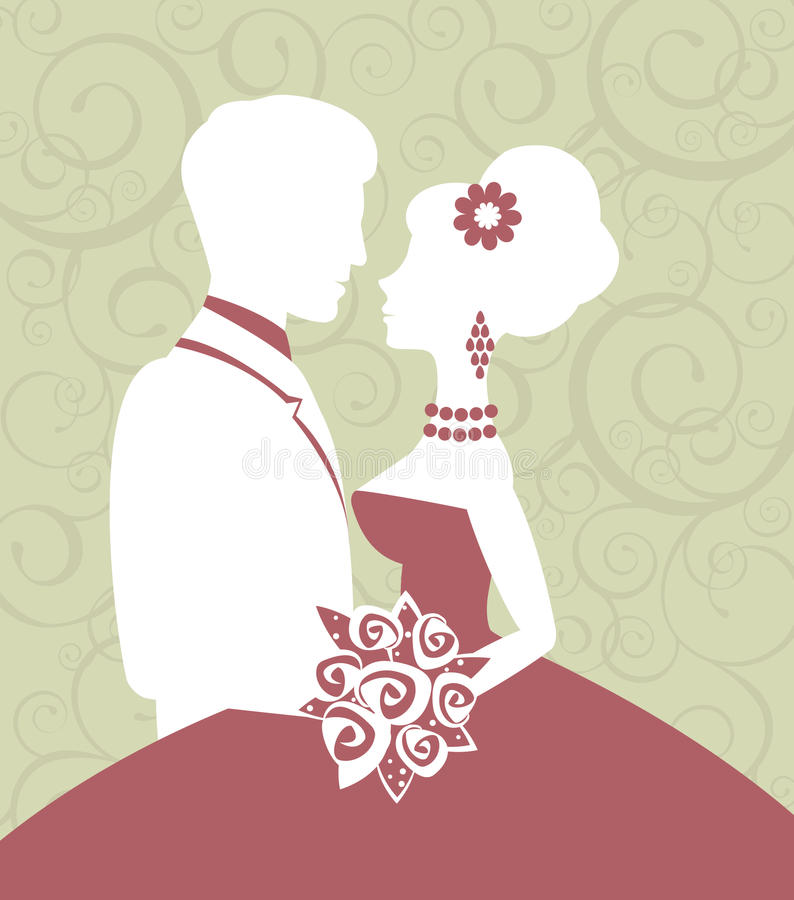 Bride and groom in love vector illustration