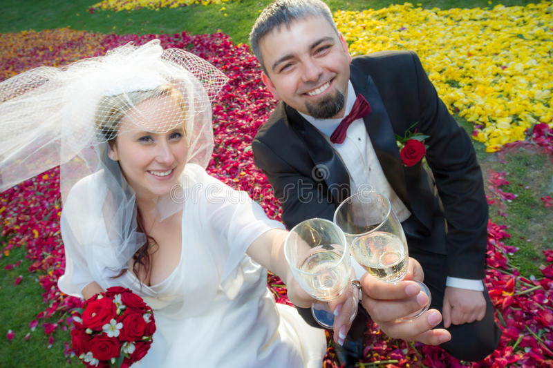 Bride and groom makes a toast with champagne stock photo