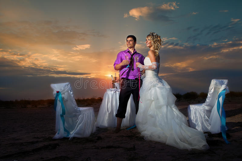 Bride And Groom Making At Sunset Stock Image
