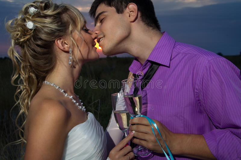 Download Bride And Groom Making At Sunset Stock Photography - Image: 27473692