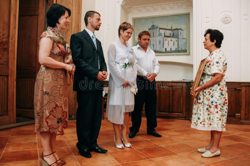 Bride and groom and mother royalty free stock images