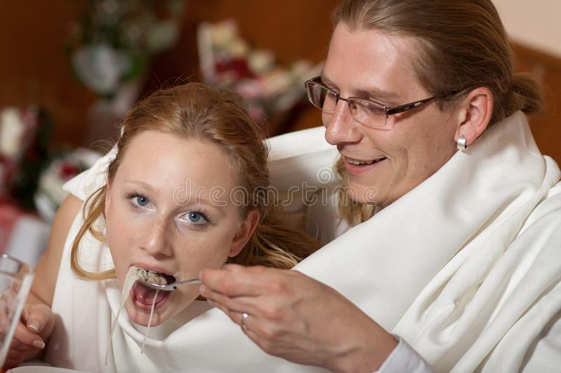 Bride And Groom In One Soup Stock Images