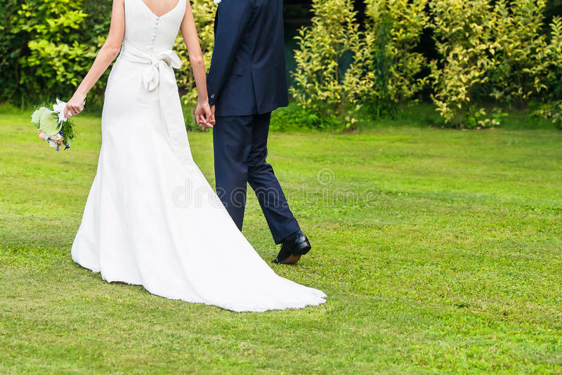 Bride and groom outdoor royalty free stock image