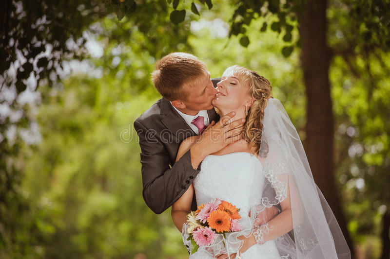 Bride and groom in a park kissing stock photo