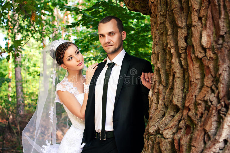 Download Bride And Groom Posing In Park Royalty Free Stock Photo - Image: 28081255