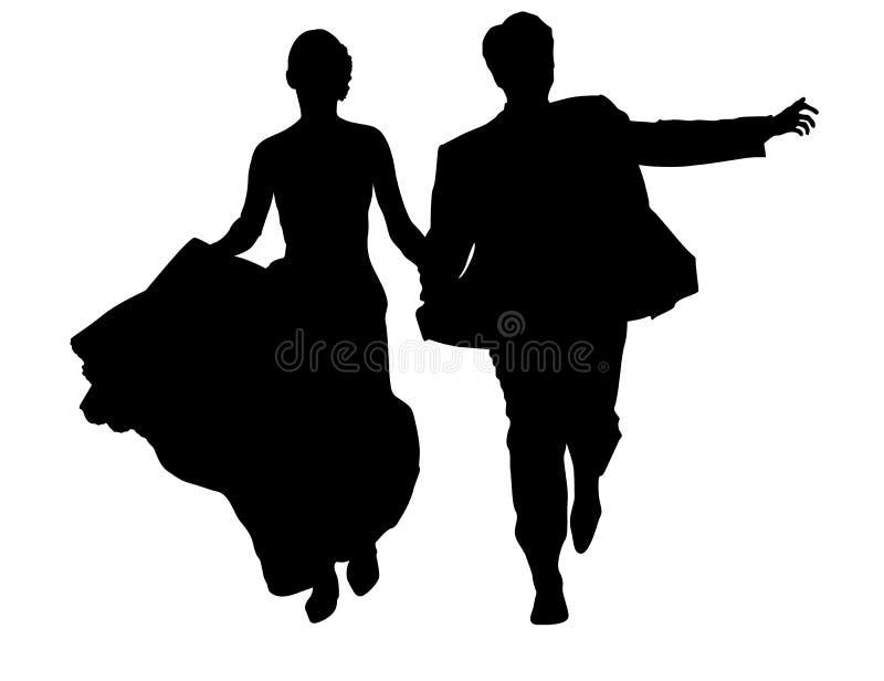 Bride and groom running vector illustration