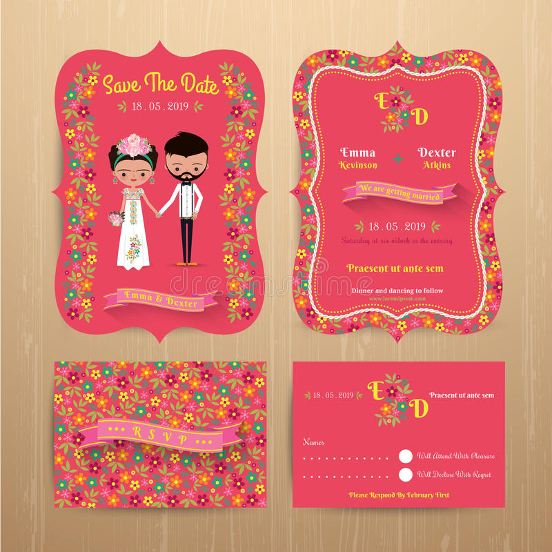 Download Bride And Groom Rustic Floral Wedding Invitation Card With Save Stock Vector