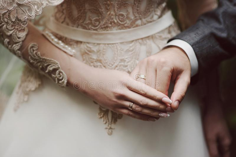 Bride and groom`s hands with wedding rings royalty free stock images