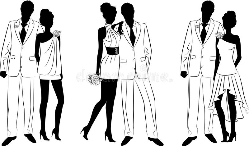 Bride and groom's silhouette vector illustration