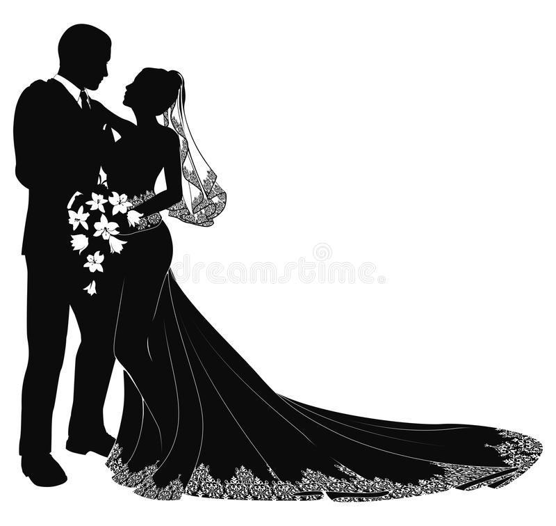 Bride and groom silhouette stock illustration