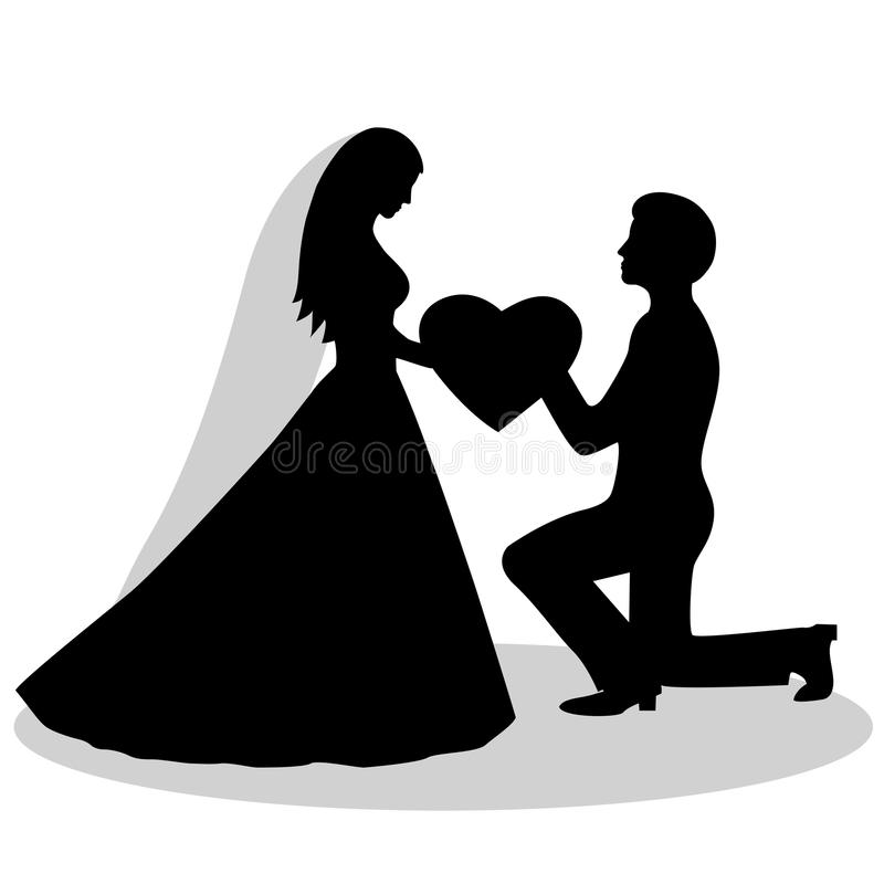 Download The Bride And Groom Silhouette Stock Vector