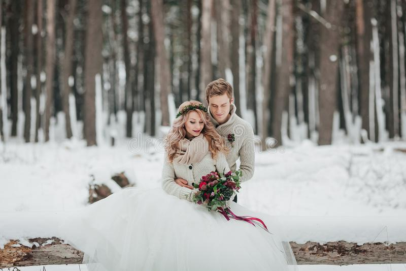 Bride and groom are sitting on the log in the winter forest. Close-up. Winter wedding ceremony. royalty free stock photography