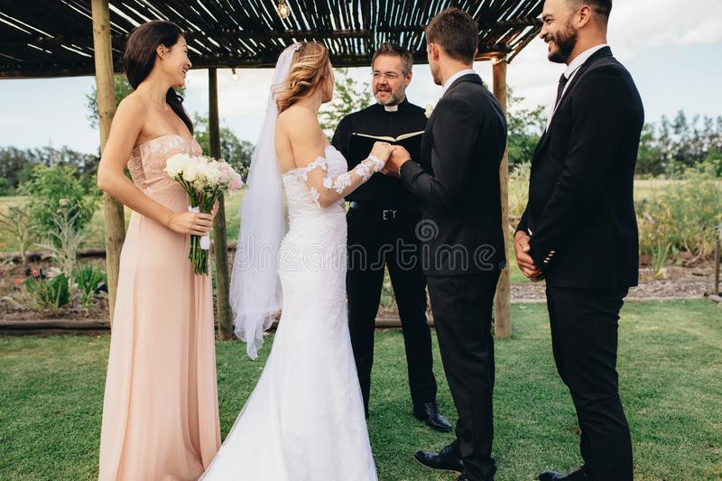 Outdoor wedding ceremony of beautiful couple royalty free stock image