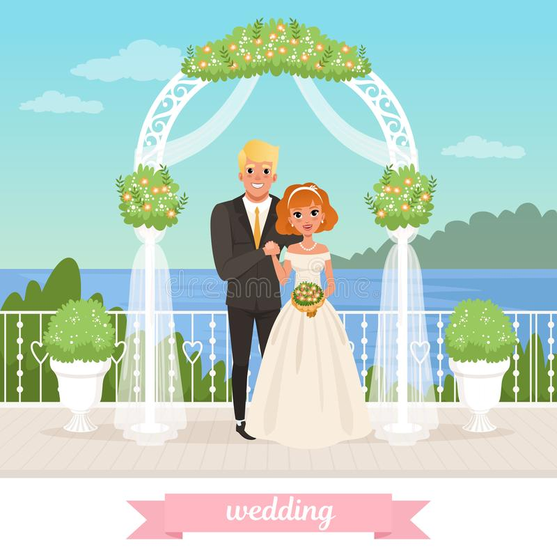 Bride and groom standing under floral arch. Wedding day. Couple in love. Woman in white dress, man in classic suit. Sea stock image