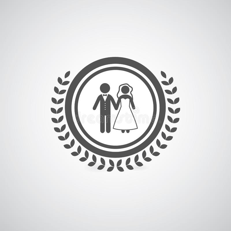 Bride and groom symbol. On sign royalty free illustration