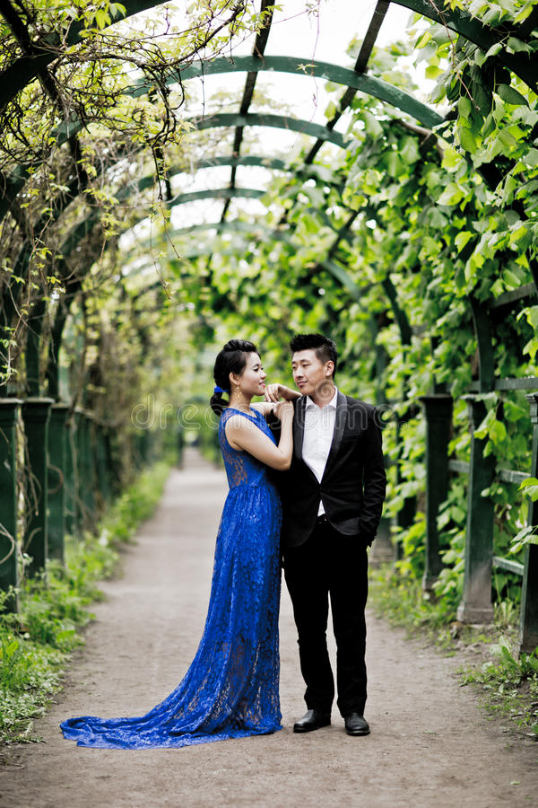 Bride and groom on their wedding day. Outdoors royalty free stock photography